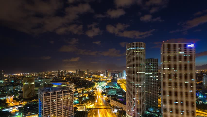 From Night To Day - Tel Aviv Aerial View Time lapse