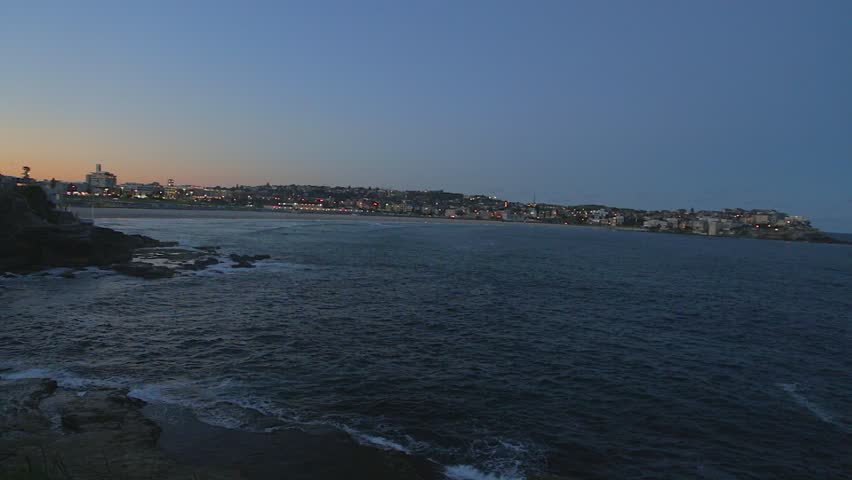 BONDI BEACH, SYDNEY,AUSTRALIA - CIRCA May 2013 :a wide post-sunset aerial shot of bondi beach