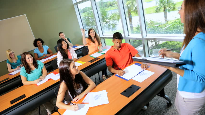 Group Young Multi Ethnic Male Female College Students Classroom On Campus African American -6175