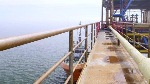 Offshore gas production platform processing equipment in the East-Kazantip field pan shot