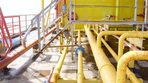 Offshore gas and oil production platform processing system in the East-Kazantip field pan shot