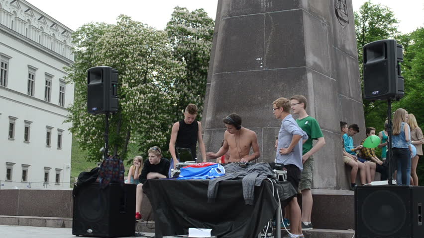 VILNIUS, LITHUANIA - MAY 18: Teen boys play mix dj club music in outdoor street music festival