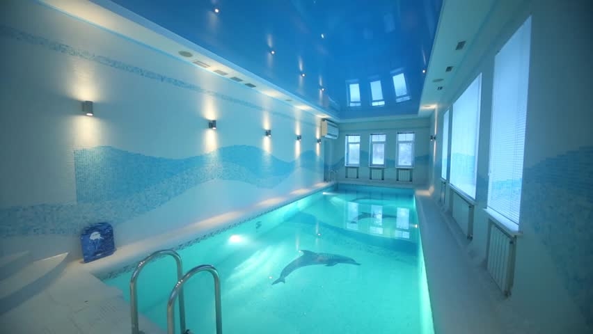 Stock Video Clip Of Turning Off Lights In Indoor Pool With