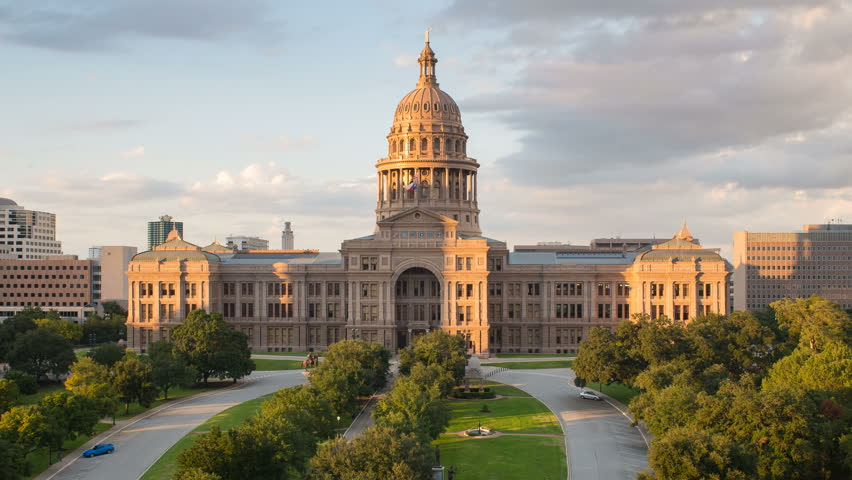 AUSTIN - CIRCA NOVEMBER 2013: Austin, Texas, USA, State Capitol Building, time-lapse, day to night