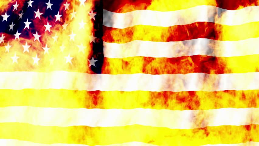 USA Flag burning non looping Animated Background
