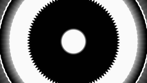 Fractal in black and white target moving and flashing or flickering flashes, flash type
