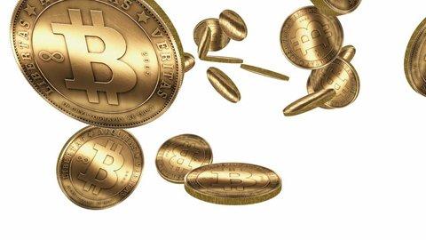 Many Gold Bitcoin Coins Flying Vidéos de stock (100 % libres