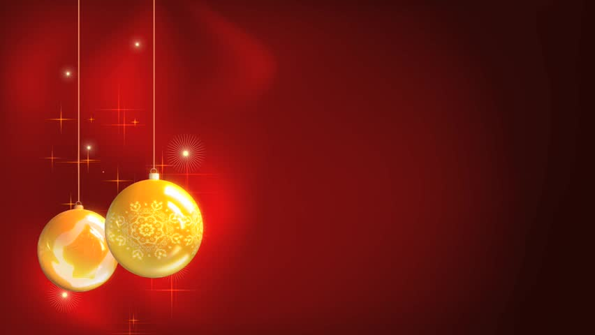Christmas and New Year yellow balls with abstract red background