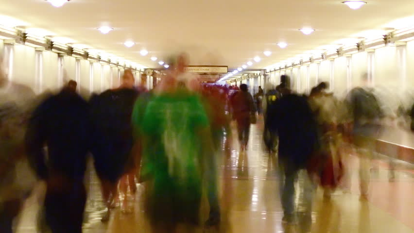 Time Lapse of Union Station Hallway with Commuters in Motion Blur -Zoom Out-