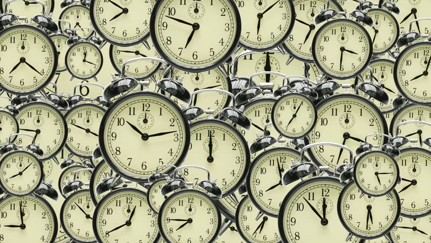 many old fashioned clocks running in time lapse in 3D space
