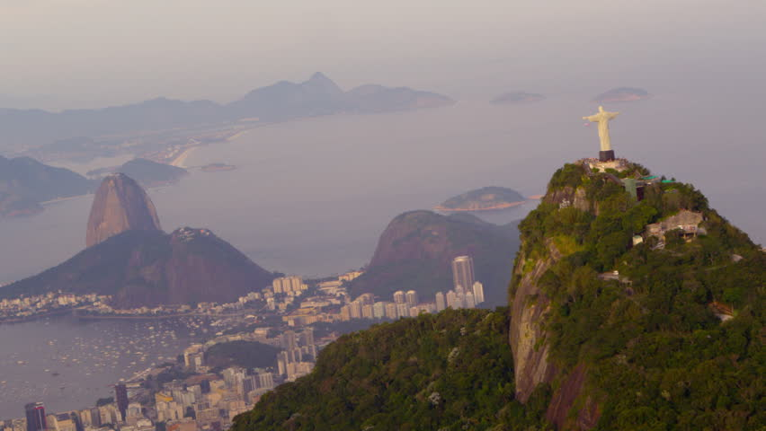 Aerial panorama of Rio de Janeiro, Christ statue | Shutterstock HD Video #6107552