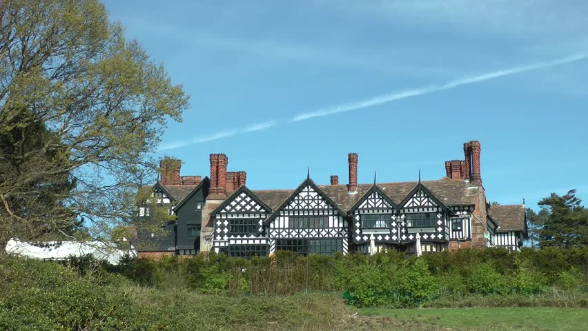 Old style tudor public house in woods, wirral, england circa 2014, april