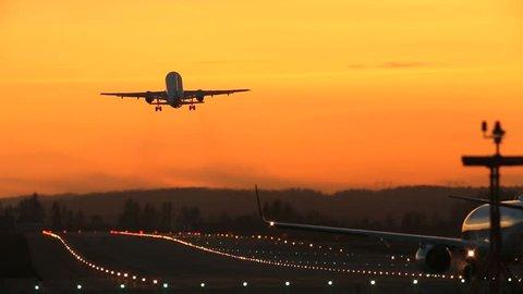 Airplane takeoff runway airport beautiful light