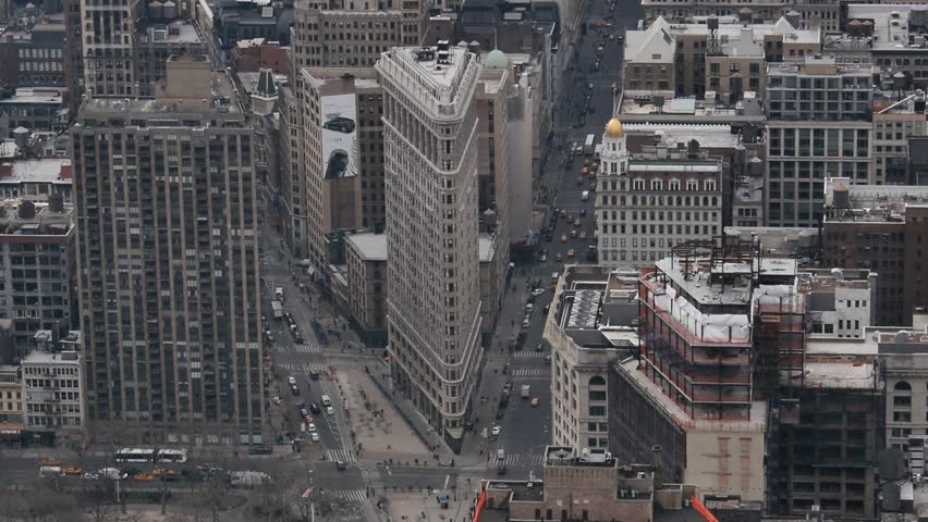 New York - March, 2014 - Aerial view of the Flatiron Building.