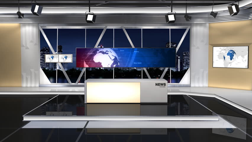 This is a News studio. It contains multiple camera angles,This is a part of the Series. Contains 1 push lens(8 Seconds) and 1 fixed focus lens(15 Seconds). The fixed focus lens are looping | Shutterstock HD Video #6134522