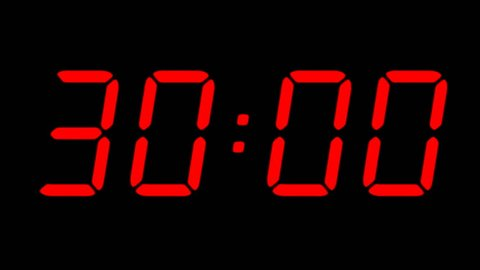 Digital Countdown Timer in Red Stock Footage Video (100% Royalty
