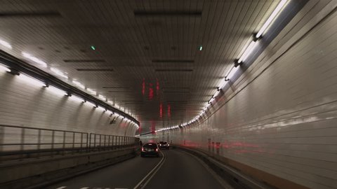 POV Driving in Holland tunnel, New York City, New York, USA