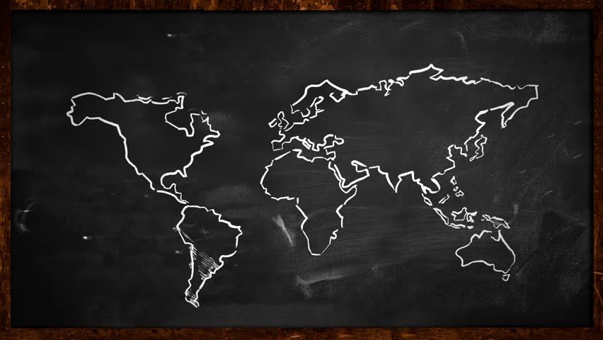 World map design animated world map at colourfull background world chalk sketch on blackboard looping animation hd stock video clip gumiabroncs Choice Image