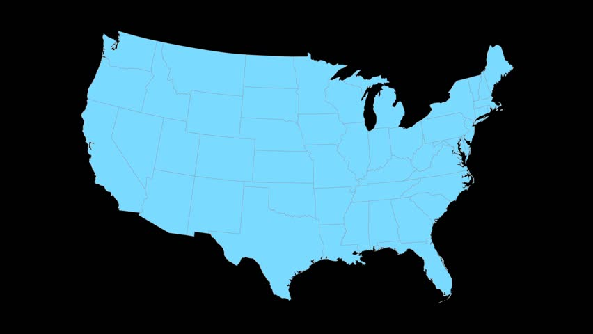 West Virgina animated map video, starts with light blue USA National map with state border lines, a yellow West Virgina map zooms out to fill center of screen, Black background.
