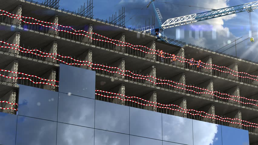 4K Building area. beautiful 3d animation. time-lapse #6265427