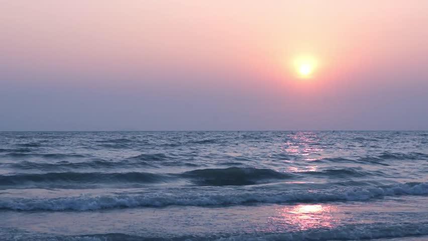 Calming view of sunset at tropic sea