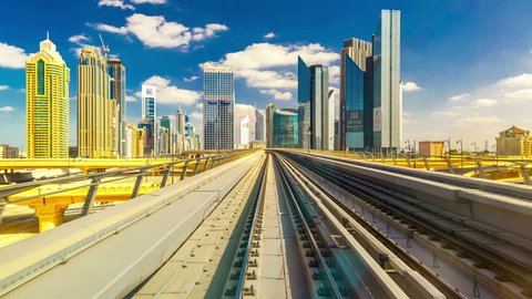 4K TimeLapse - From windshield window of the first wagon of Dubai metro, November 2012