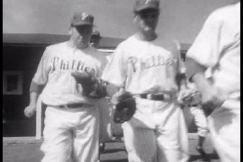 CIRCA 1950s - The New York Yankees and the Philadelphia Phillies get ready for the 1951 baseball season.