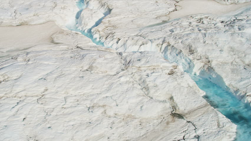 Aerial View Glacier Sheets Of Ice Containing Melt Waters USA - Usa hemisphere