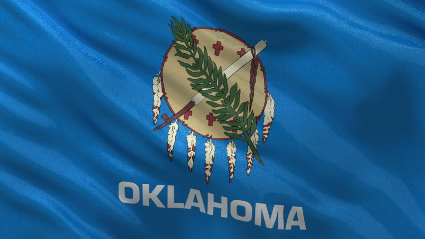 US state flag of Oklahoma gently waving in the wind. Seamless loop with high quality fabric material.