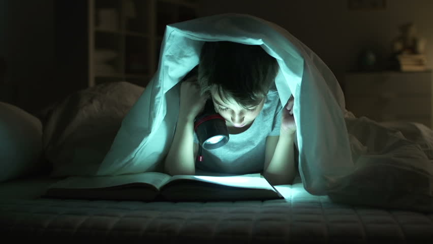 Dolly of boy reading aloud in bed