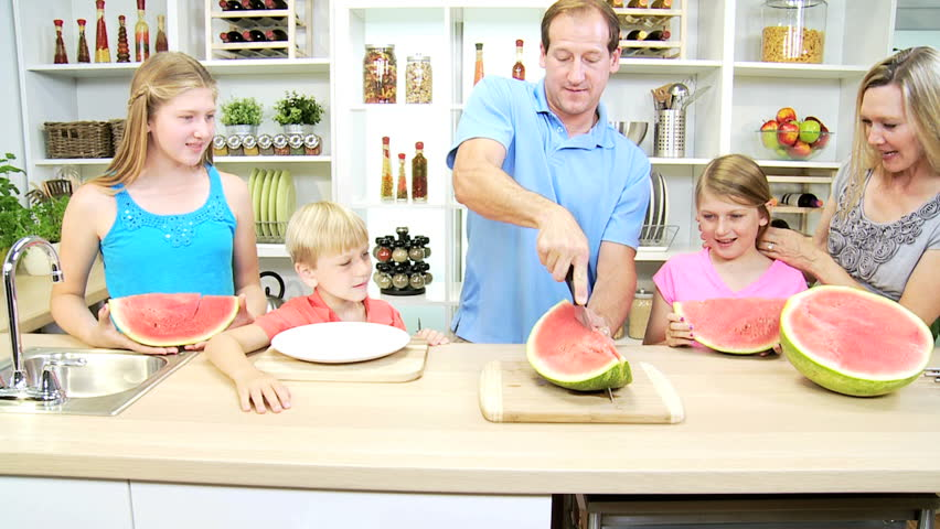 Healthy Blonde Caucasian Family Watermelon Stock Footage Video 100 Royalty Free 6341102 Shutterstock