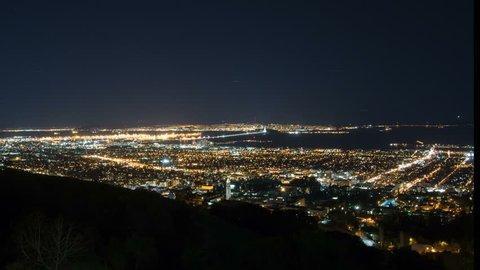 4k Time lapse of the San Francisco bay area shot from high in the Berkeley Hills. Parts of Berkeley, Oakland, San Francisco can be seen and planes can be seen taking off and landing at SFO
