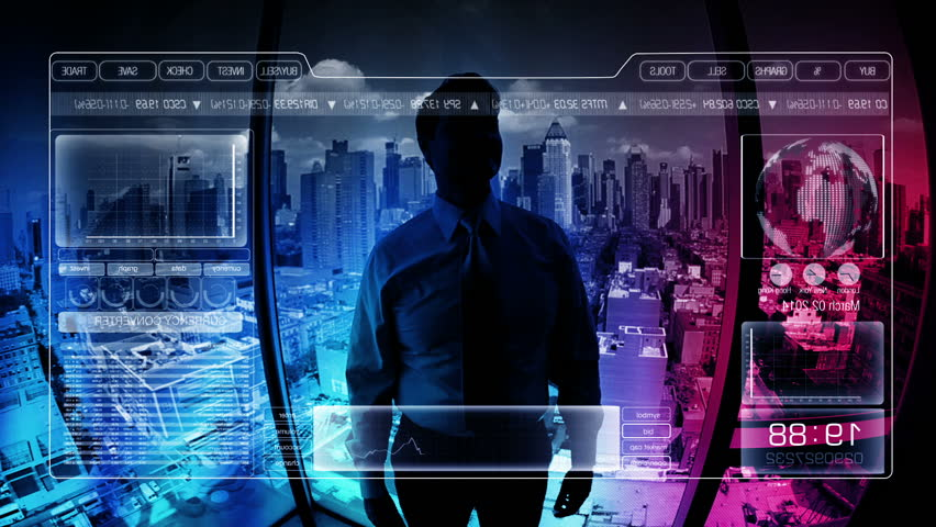 Businessman digital touchscreen technology motion graphics - Young male Caucasian businessman using touchscreen digital technology business finance trading stock market motion graphics New York City
