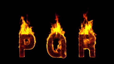 fire P Q R letters isolated on black background. Alpha-channel included