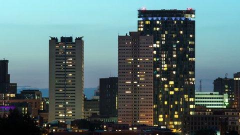Birmingham, England city skyline timelapse. Day to night time lapse of Birmingham's city centre taken from Edgbaston.