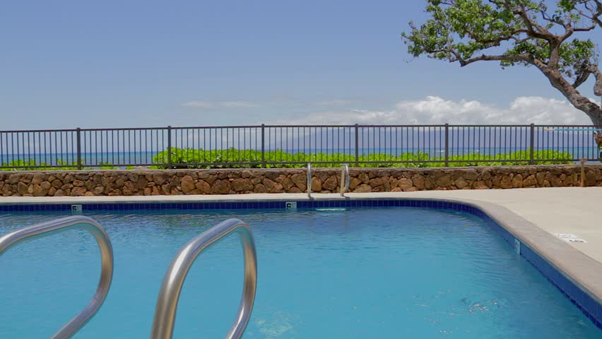 pristine maui blue pool with ocean view hd stock video clip - Olympic Swimming Pool 2014