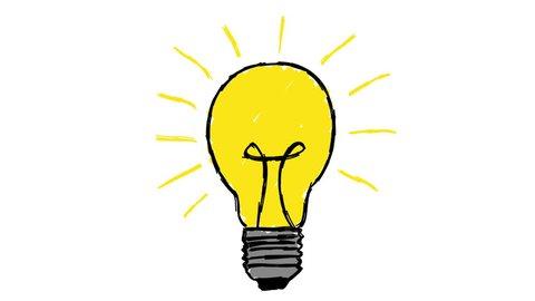 Animated cartoon lightbulb loop invention or idea concept