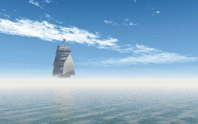 Square Rigged Sailing Ship passes close to camera and sails off to the horizon under a daytime blue sky with moving clouds. Original Animation