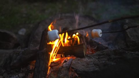roasting marshmallows slowmotion video.