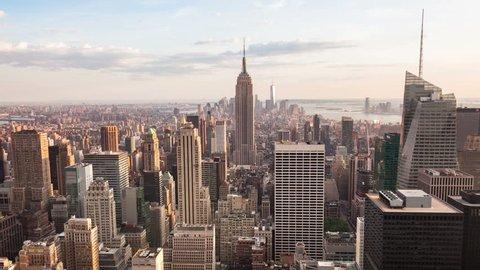 4K Aerial Sunset timelaspe of Manhattan skyline - New York - USA