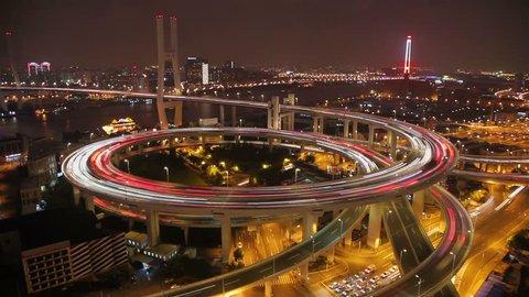 Timelapse of traffic on Nanpu Spiral at night ,  Shanghai,  China
