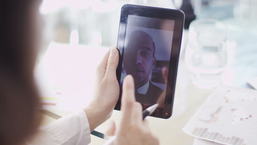Office workers have meeting on tablet | Shutterstock HD Video #6495668