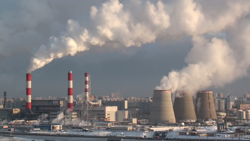 Thermal Power Station And Smoke Or Steam Comes Out Of The