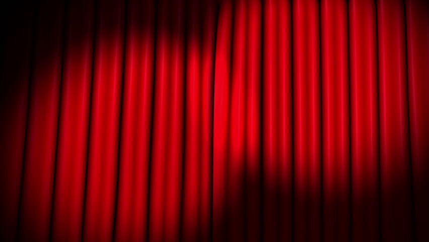 Red theater velvet curtains opening with spotlights | Shutterstock HD Video #6524492