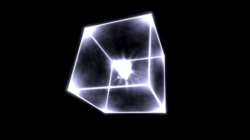 Rotating Glowing Cube Animation - Loop White