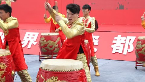 JIANGXI - MAY 20: traditional drum performance on May 20, 2014   in Jiangxi, China.