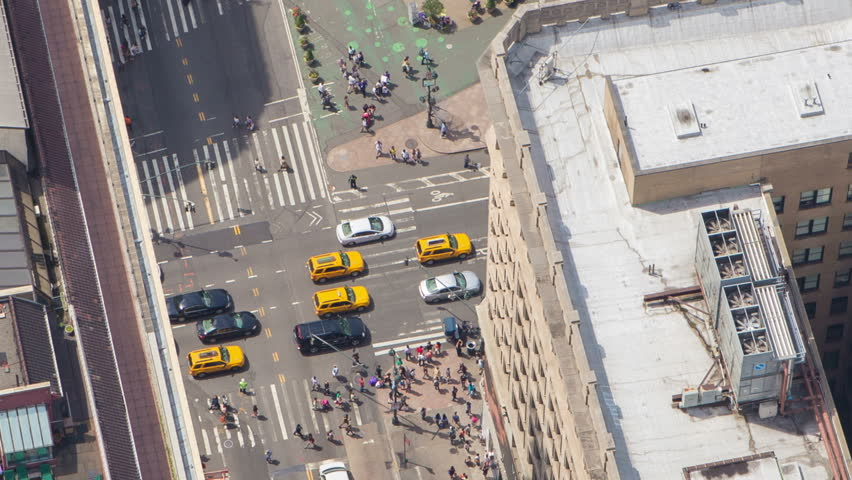 Manhattan, NYC midtown traffic rooftop sunbathers, birds eye view, zoom out | Shutterstock HD Video #6595652