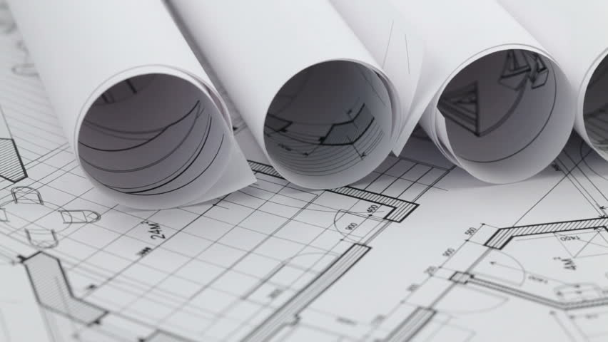 rolls of architectural blueprints #660850