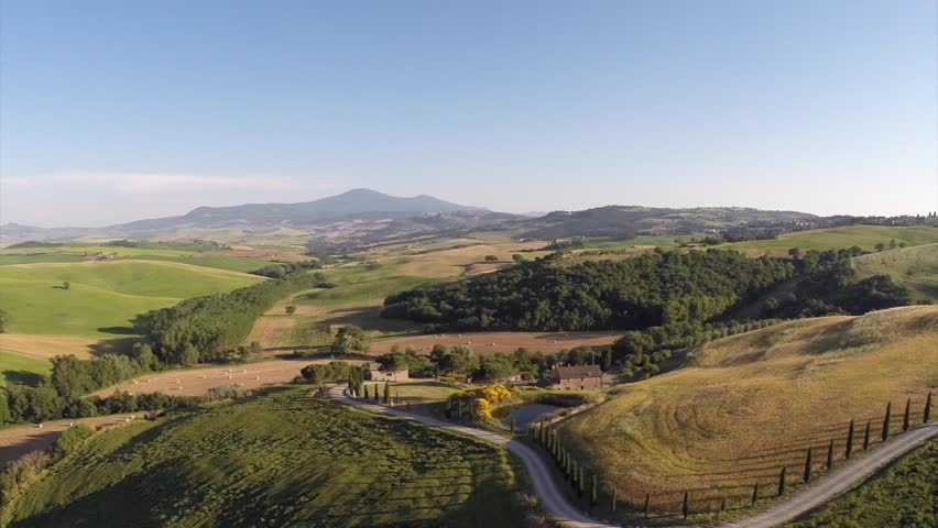Typical landscape of the Val d'Orcia in Tuscany, Italy. Aerial view