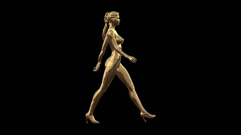 3D Concept Gold High Fashion Model High Heel Walk Profile Full view in PNG + Alpha format